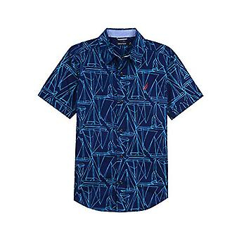 Nautica Big Boys' Short Sleeve Printed Woven Shirt, Adams Tanzanite, Large (1...