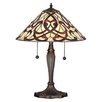 2 Lichte Medium Tafellamp Donker Brons, Tiffany Glas, E27