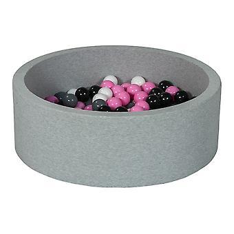 Ball pit 90 cm z 200 kulkami czarnymi, białymi, jasnofioletowymi i szarymi