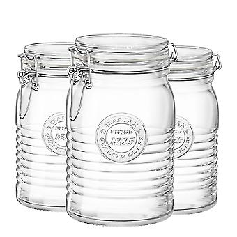 Bormioli Rocco Officina 1825 Glass Storage Jar with Airtight Clip Lid - 1 Litre - Pack of 3