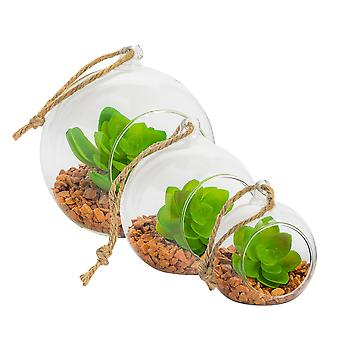 Nicola Spring Glass Indoor Plant Terrariums With Vintage Hanging Rope - Set Of 3 - 8cm, 10cm, 12cm