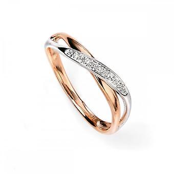 عناصر الذهب عناصر 9ct الأبيض وروز الذهب الماس تويست حلقة GR447