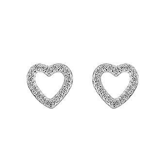 Dew Silver Open Cubic Zirconia Open Heart Stud Earrings 3543CZ027