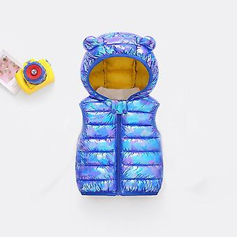 Winter Vest For Baby Girl Winter Clothes Hooded Shiny Coats Sleeveless Vest For 12m To 4years Baby
