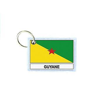 Porte cles cle clefs imprime double face drapeau GF guyane francaise
