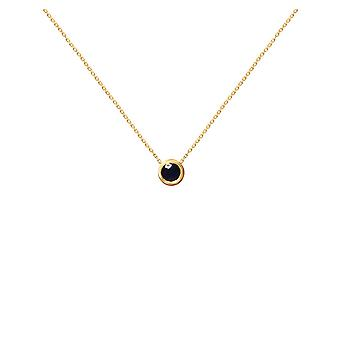 Necklace Solitaire 0.10 carat Black Diamond and 18K Gold