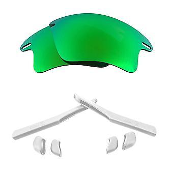 الاستقطاب استبدال العدسات عدة ل Oakley سريع سترة XL مرآة خضراء بيضاء مضادة للخدش ضد وهج UV400 SeekOptics