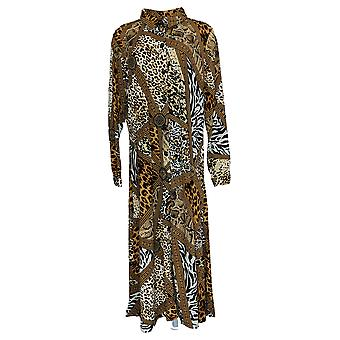 Attitudes By Renee Duster Animal Print Long Sleeve Button-Up Brown A382806