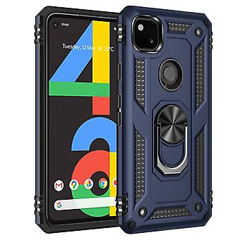 For Google Pixel 4a Shockproof TPU + PC Protective Case with 360 Degree Rotating Holder(Blue)