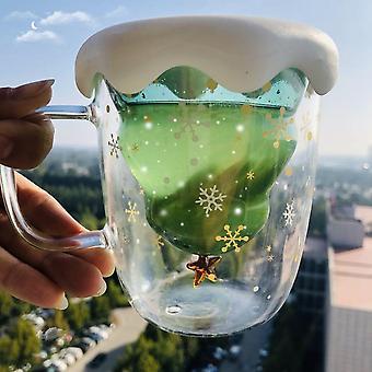 Kerstboom geïsoleerde glazen koffiemok