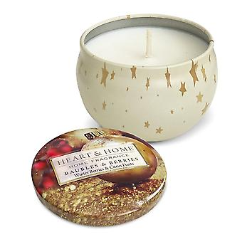 Heart & Home Candle In Tin Baubles And Berries