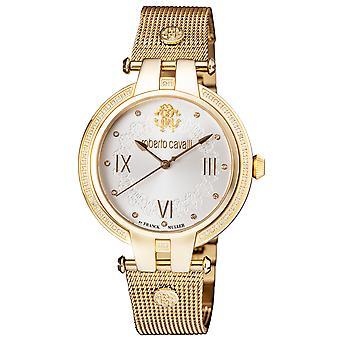 Roberto Cavalli Women's Diamond Silver Sunray Dial Gold Plated Watch