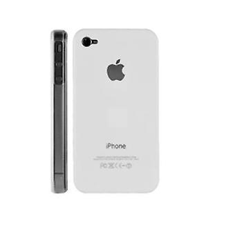 Iphone 4 og 4s Hard Plastic Cover Bagetui med Apple-logo - Hvid