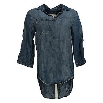 Side Stitch Women's Top Tencera Pullover Tunic Blue A299018