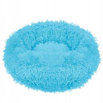 Kôš pre psov okrúhly - 90 cm - Aqua Blue Polyester Plyšová
