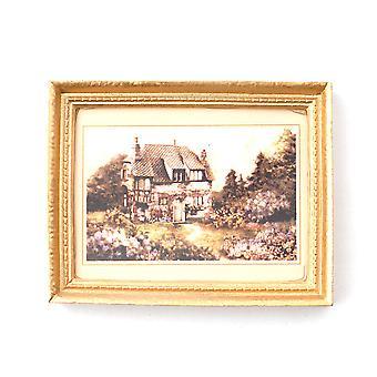 Dolls House Country House Image dans le cadre d'or 1:12 Accessoire miniature