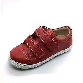 PETASIL Double Velcro Leather Trainer Styled Shoe Red