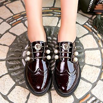 Women Pearl Flats Beaded Loafers Preppy Leather Shoes