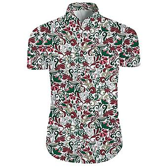 Mens 2 Pieces 3d Floral Print Casual Button Down Short Sleeve Hawaiian Shirt And Shorts Set In White