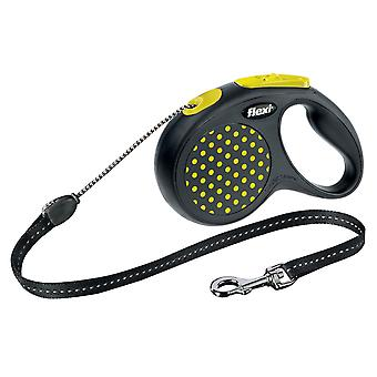 Flexi retráctil diseño perro correa de cordón, tamaño pequeño 5m, amarillo