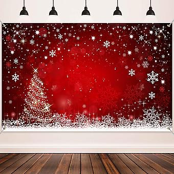Christmas decoration supplies, large fabric winter red and xmas tree backdrop for winter christmas p