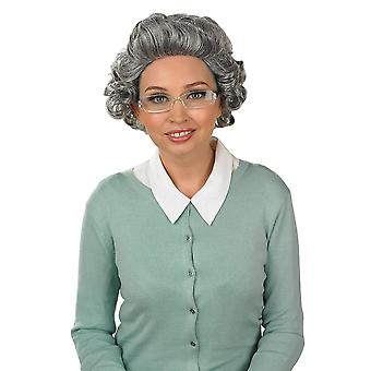 Fun shack adults old lady curly wig grey hair granny costume accessory with glasses curly wig with g