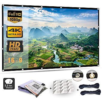 Projector screen 120 inch, portable projector screen with 16:9 hd 4k screen for school home theatre