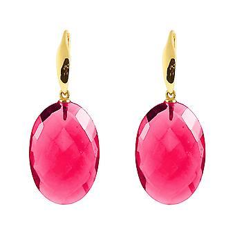 Gemshine örhängen röd kvarts oval ädelstenar i 925 silver eller guldpläterade