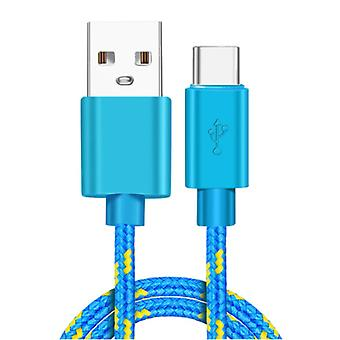 IRONGEER USB-C Charging Cable 2 Meter Braided Nylon - Tangle Resistant Charger Data Cable Blue