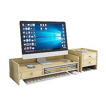 Multifunctional wooden monitor riser stand desktop holder file storage drawer for imac