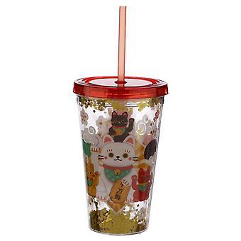 Onnekas kissa maneki neko kaksinkertainen seinäseinäinen uudelleenkäytettävä kuppi kannella ja oljilla