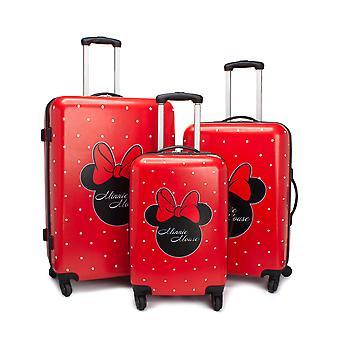 Disney Minnie mus koffert for voksne og barn | Hytte Små mellomstore eller store alternativer bagasjeveske | kvinners jenter rød hard cover bære på reiser tralle