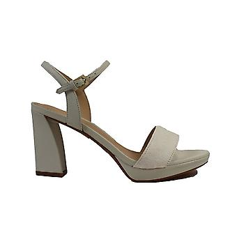 Clarks Vista Strap White Combi Leather Womens Heeled Sandals