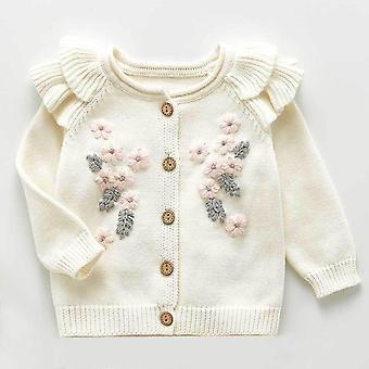 ベビーセーターフラワー刺繍新生児セーターカーディガン秋のジャケット