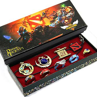9pcs Dota2 Hook Shadow Talisman Dodge Pendant Necklace Ring Set
