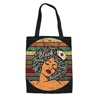 African Girl Women's Canvas Grocery Tote Handbag Portable Shopping Bag