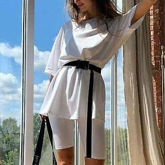 Solide Sommer Khaki Frauen T Shirt Streetwear Over Size High Fashion