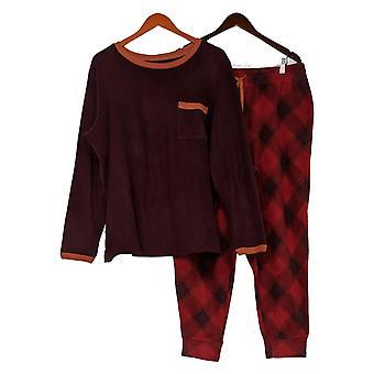 Cuddl Duds Donna Regolare Stretch Fleecewear Pigiama Set Rosso A381825