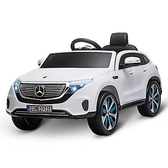 HOMCOM Compatible 12V Battery-powered Kids Electric Ride On Car Toy with Parental Remote Control Music Lights Bluetooth Suspension Wheels for 3-8 Years Old White