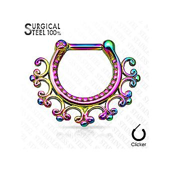 Septum piercing clicker - laced edge tribal fan 316l surgical - 16ga - sold each