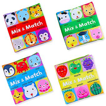 4pcs Mix And Match Interesting Cloth Book With Sound Paper Bell Bb Device Infant Fabric Book