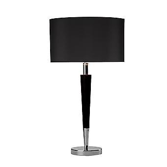 Tafellamp gepolijst Chroom & Zwart compleet met Zwart Linnen Ronde Trommelkap VIK1322