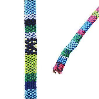 متعددة الألوان القطن الحبل، شقة المنسوجة خيوط 5x2mm، 3 أقدام، الأزرق / الأخضر ميكس