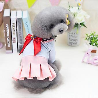 Dog cat clothes spring teddy bichon cute uniform skirt bow small two feet