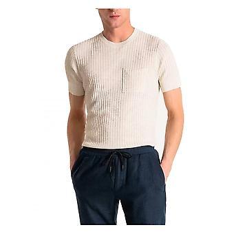 Antony Morato Mens Slim Knitwear Viscose-linen Blend Ivory