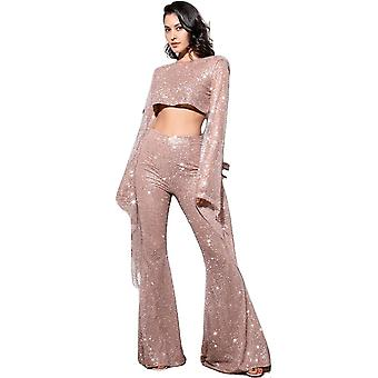Sexy Rose Gold Cut Out Open Back Trumpet Shape Glitter Glue Bead Material Long Sleeve Jumpsuit