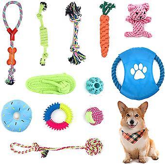 Welpenspielzeug 12 Stück Hundespielzeug 100% natürliche Baumwolle Ungiftig Seil Hunde vermeiden