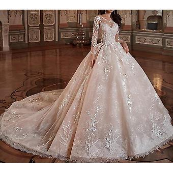 Fleurs à manches longues de luxe Robe de bal robe de bal de luxe