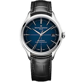 Baume & Mercier M0a10467 Clifton Baumatic Automatic Cadran Blue Black Leather Mens Watch
