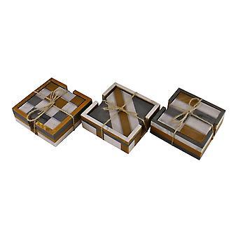Uppsättning av 4 kvadrat, hartsunderlägg, abstrakt design